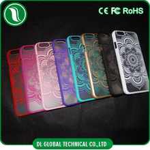 Retro royal court style transparent matte flowers printing matte pc case for iphone 6
