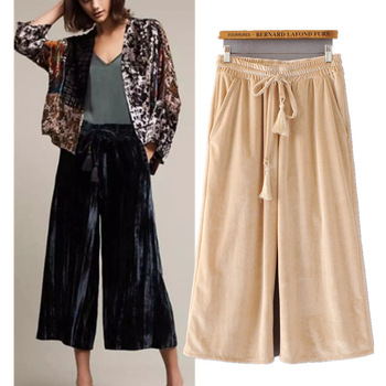 C74720A 2017 Wholesale casual super large wide leg print long pants