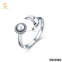 925 Sterling Silver Cultured Freshwater Pearl Moon Open Finger Ring Silver 925 Jewelry