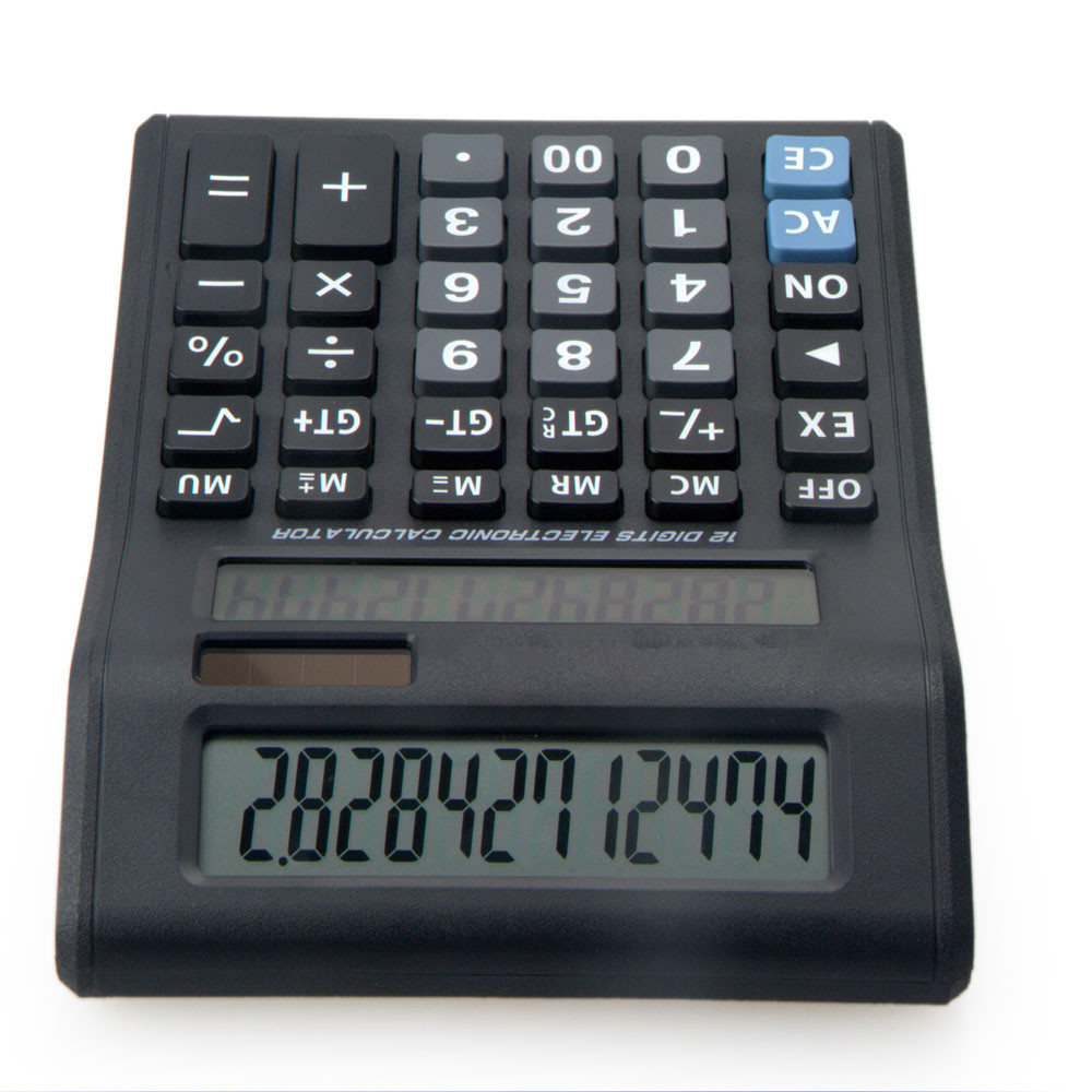 Pn Dual Power Double Screen Calculator 12 Digit Office Use