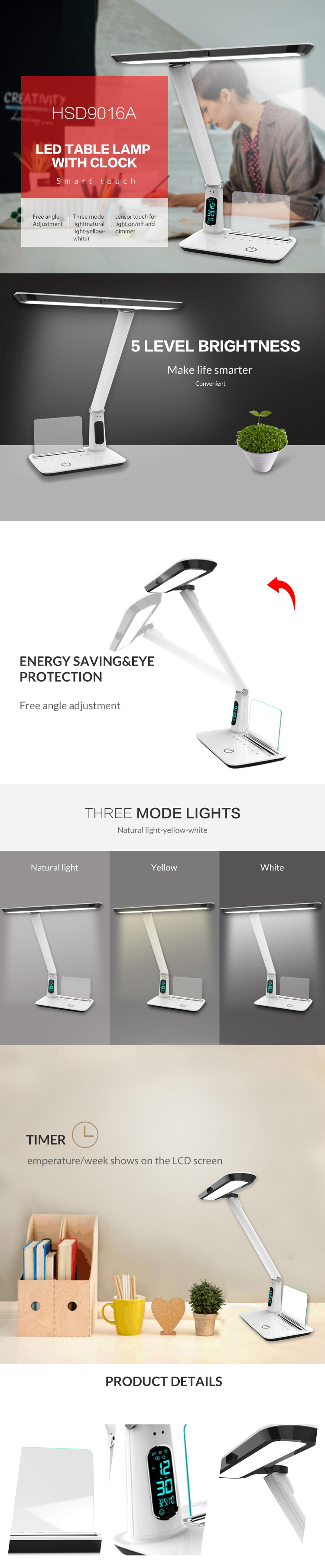 New arrival modern smart eye protect led reading lamp with clock and memo board