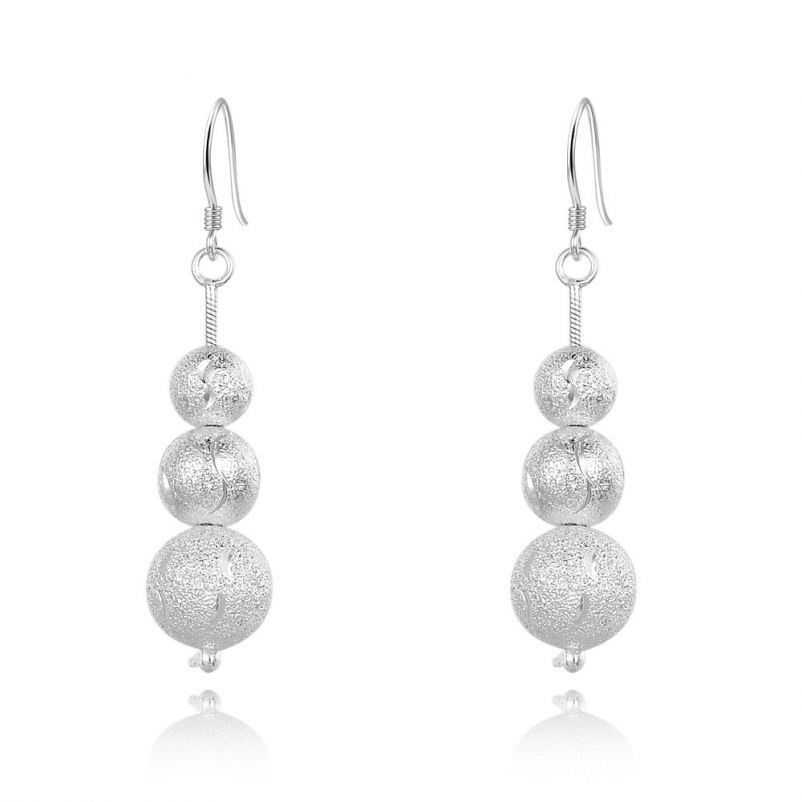 Alibaba Women's Classic 925 Sterling Silver jewelry Earrings Three Frosted Balls Pendant Drop Earrings for Anniversary