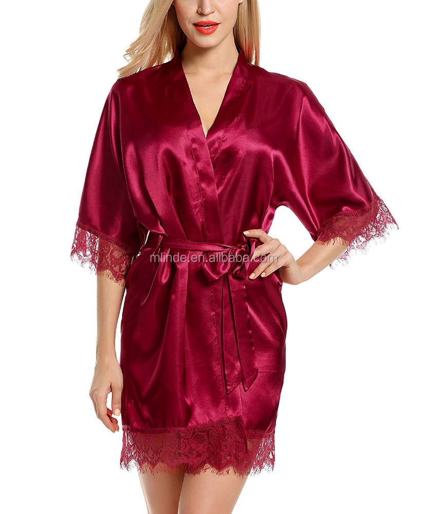 Wholesale Cheap Silk Robes Kimono Ling Sleeve Stain Sleepwear Plain Dyed Bridesmaid Open Front Robe for Women Nighty Clothing