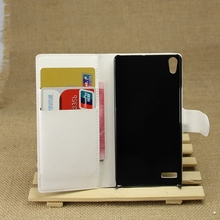 Quality most popular flip leather case cover for huawei p6