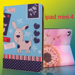 Stand pu leather cute cartoon painting drawing case for ipad mini 2 3 4