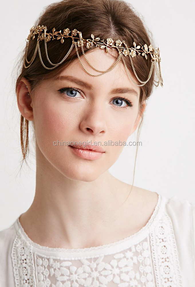 Draped Chains Flower Head Crown