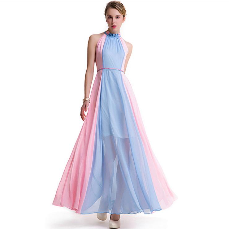 Korean Designer Chiffon Sleeveless Cute Long Maxi Bodycon Dress ...