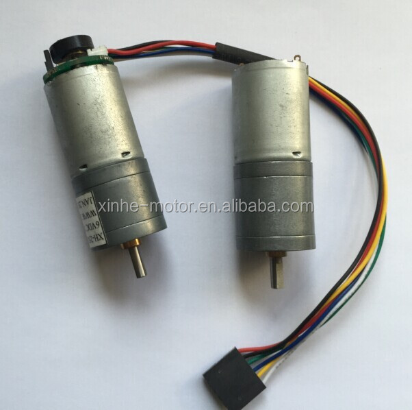 XH-GM370 25mm 12v 24v dc gear motor reversible with 48CPR encoder used in robot gear motor