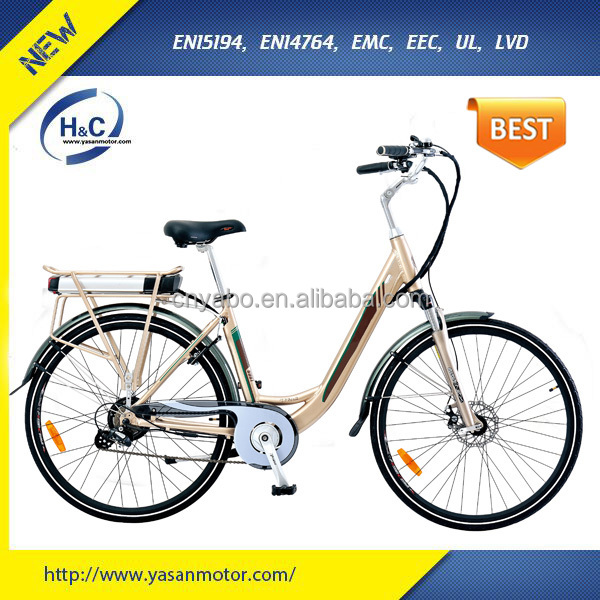 Golden colour 36V 300W aluminum alloy electric bike wholesale city e bike for adults