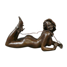 Factory cast metal copper sexy lady statue naked erotic woman female sculpture
