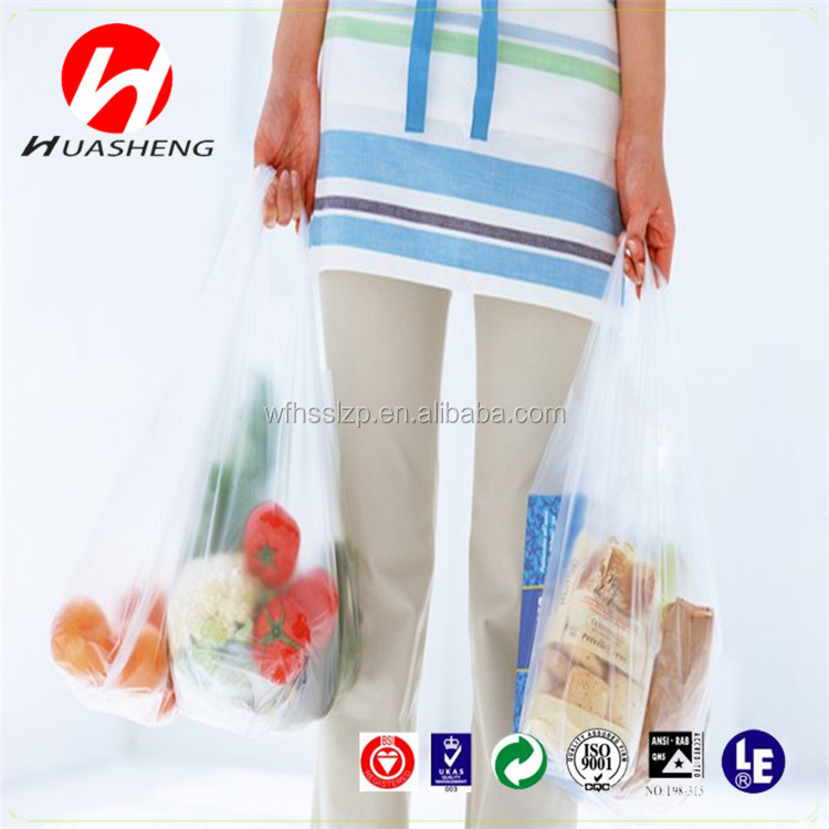 Custom printed biodegradable t shirt bags/plastic carry bags for shopping
