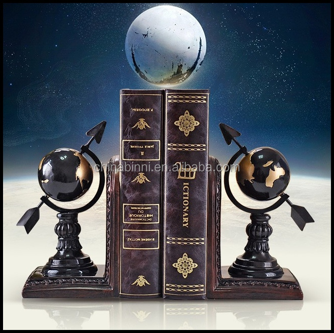United Arab Emirates Handmade Globe Resin Bookend With Black Red White Tabletop Display For Office Reading Room Home Decor Folk