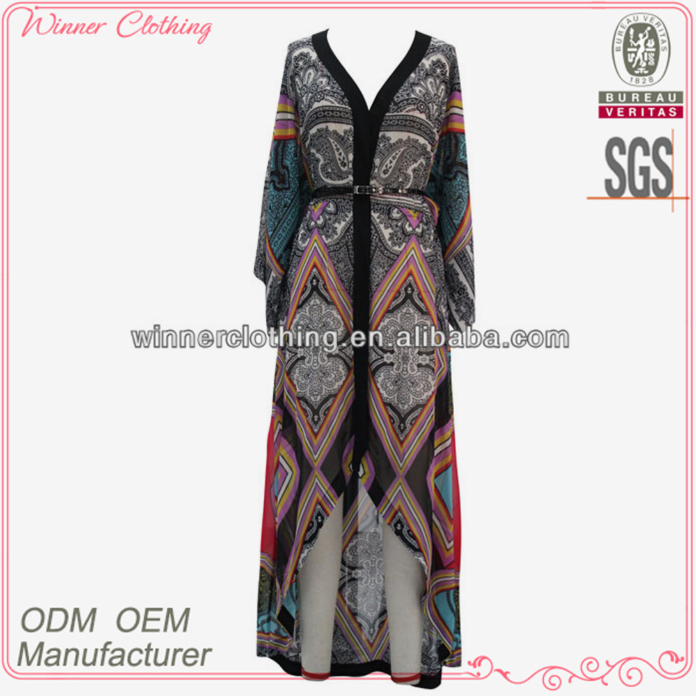 New style fancy elegant long sleeve belted arabic maxi dress
