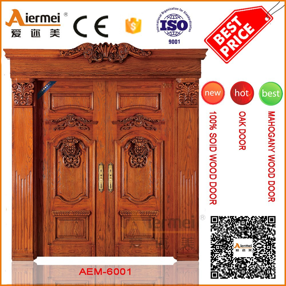 Original solid wood main door wood carving design for for French main door designs