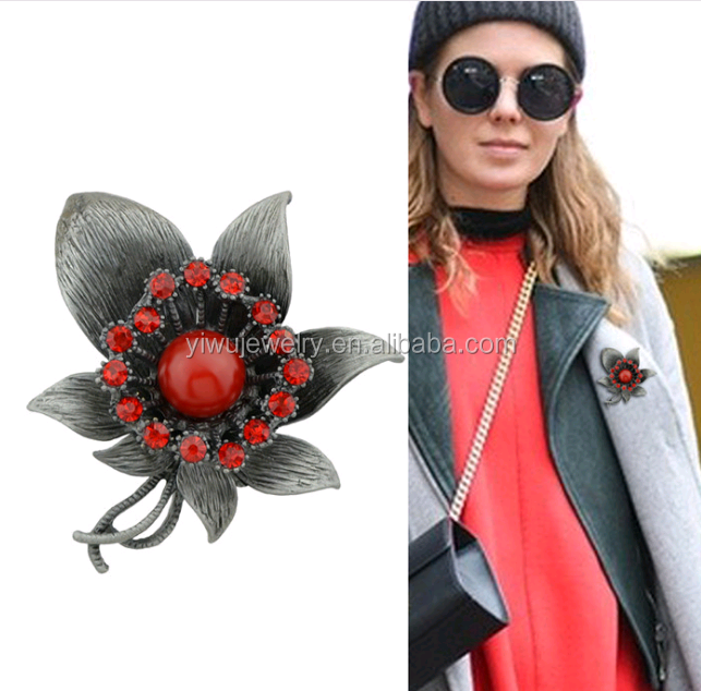 P53-<strong>109</strong> black nickle red rhinestone fancy brooch women