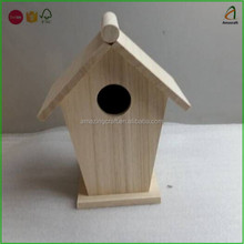 Natural Unfinished Wood,Unique Decorative Traditional Wood Birdhouse
