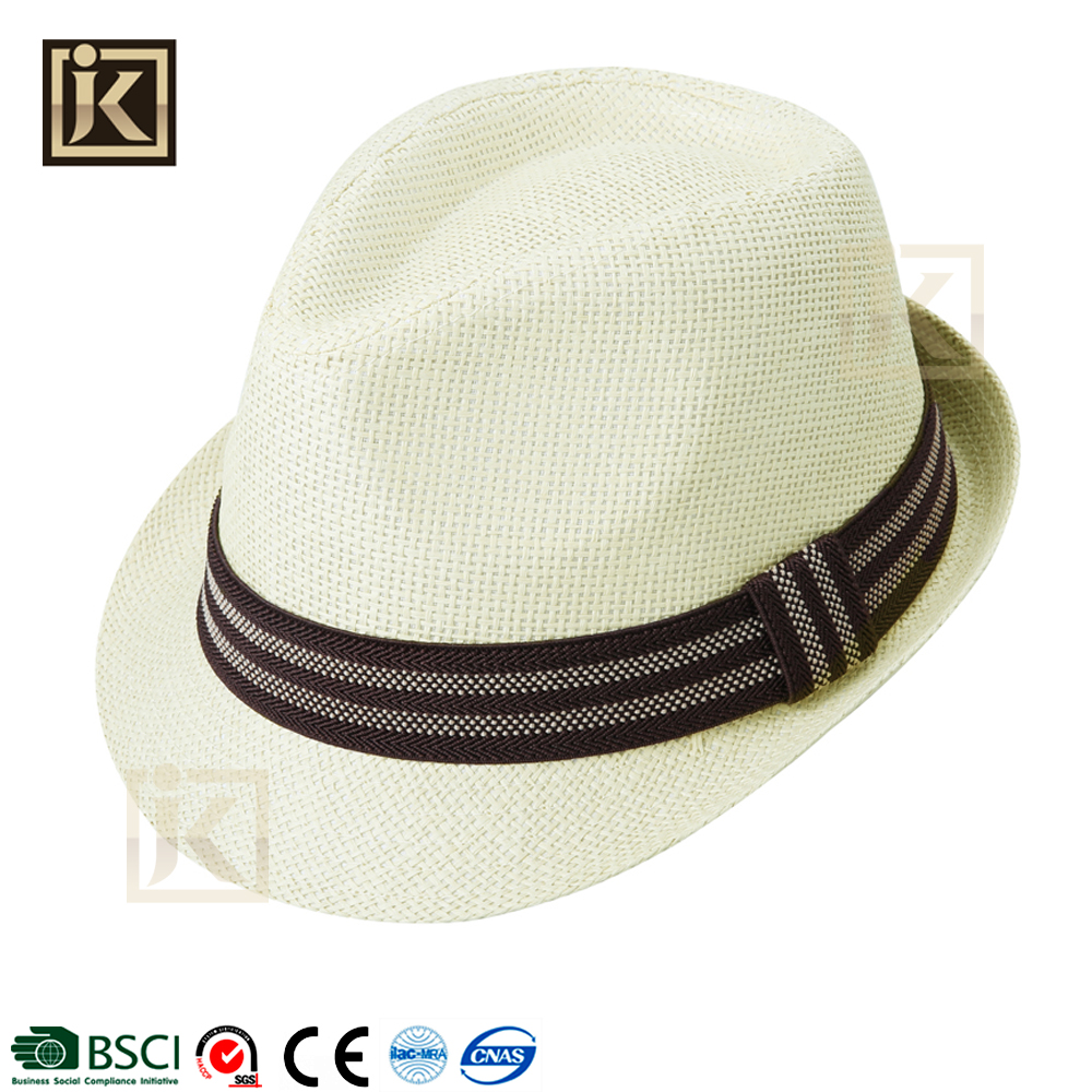 JAKIJAYI 100% paper fedora hat mini best cheap classic straw fedora hat for man