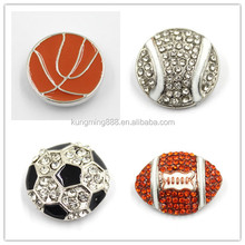 18MM Silver Different Sport Ball Shaped Snap Button For Cheering Squad