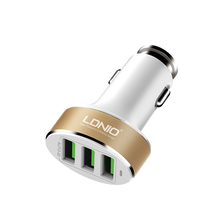 The factory price 5.1A 3 ports usb car charger for Mobile phone, charging treasure