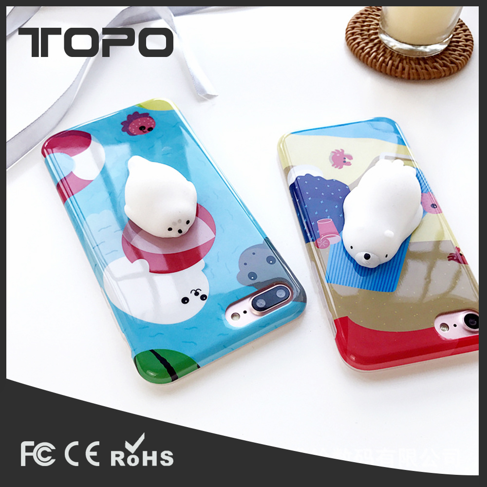 3D Animal cute Relieve pressure Stress Pinch Soft Squishy summer Mobile phone case cover for iPhone 6 7 plus