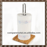Stainless Steel and Metal Toilet Tissue Holder with wooden base bathroom rack