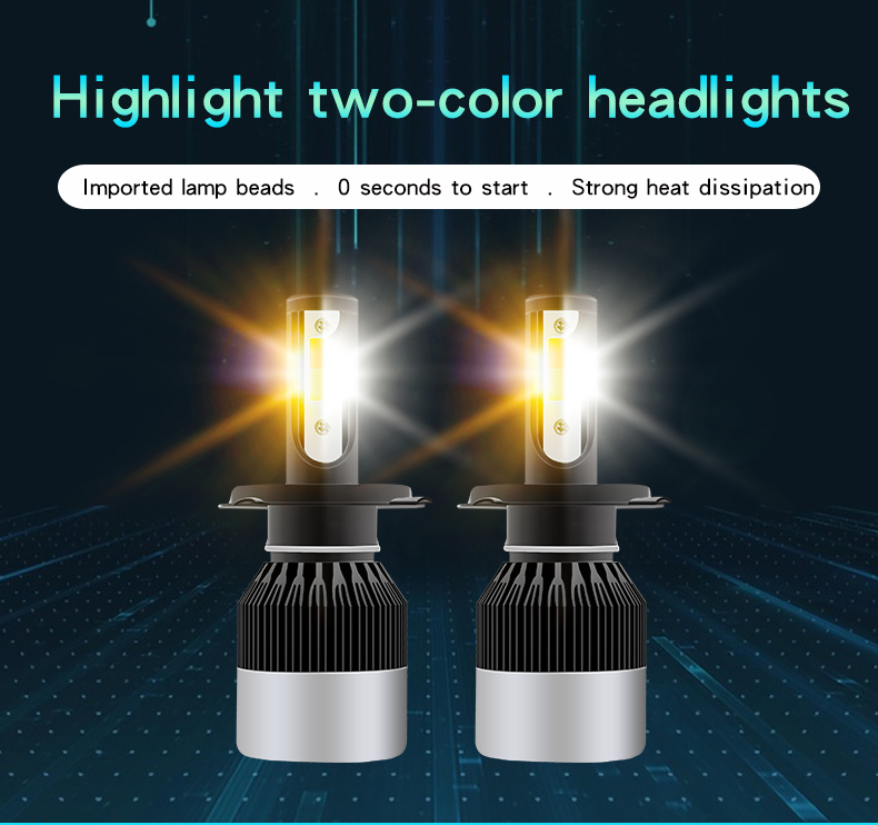 Dual color COB LED Head lights H4 H7 9005 9006 H8 white yellow Fog Light 50W 6000LUMEN build-in Fan Car LED Headlight Bulbs H7
