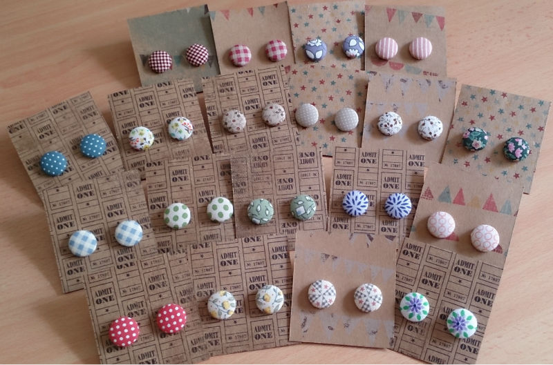 Fabric Button Ear Studs