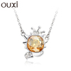 OUXI fashion series Leo pendant jewelry made with crystal/alloy rhodium plated necklace 10747