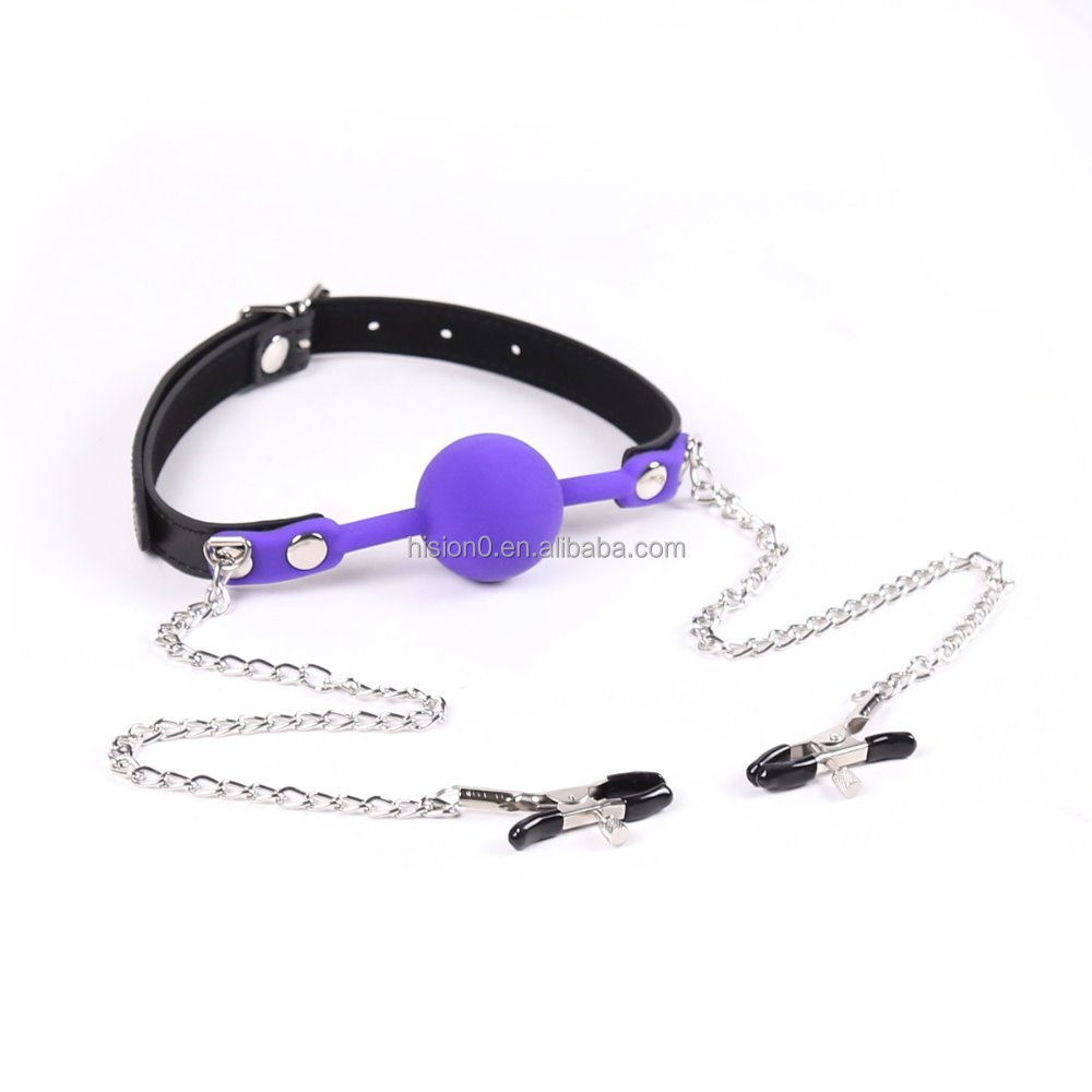 Funny Silicone Ball Gag with Stainless Steel Chain Nipple Clamps