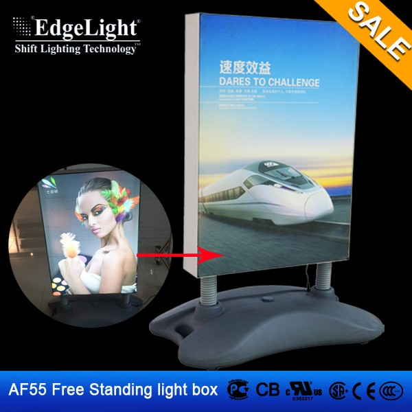 Standing double side aluminum fabric sign light box poster frame advertising display