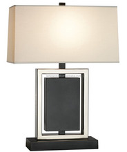 A little Art Deco glam Hollywood luxe distinctive metal desk lamp with rectangular shade for hotel guestroom reception desk
