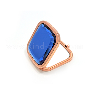 Chic Amazing Shining Gem Bead Blank Rectangular Jeweled Mirrors Rose Gold Metal Compact Mirror