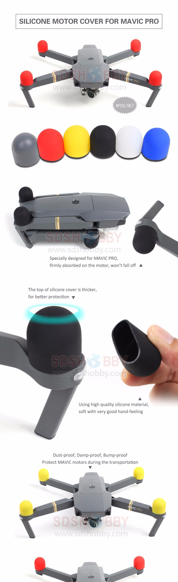 4pcs/set Silicone Motor Protective Cover Motor Protector Guard Cap for DJI MAVIC PRO