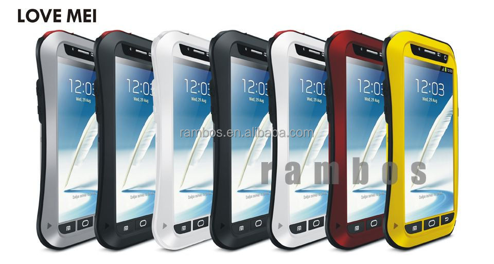 Love Mei Gorilla Glass Shockproof Waterproof Aluminum Metal Case Cover for Samsung Galaxy Note 2 N7100