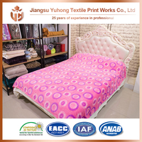 Colorful Circle Flannel Burnout Blanket Bed With High Quality Texture