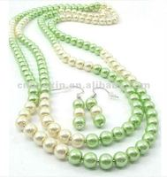Fashion green glass pearl long necklace earring