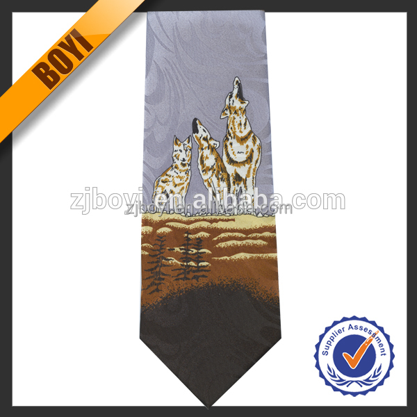 100% Polyester Animal Printed Pattern Ties Accoresies Wholesale