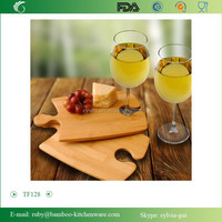 TF128 /Personalized Bamboo Perfect Fit Puzzle Cutting Board Set with 2 Wine Glasses