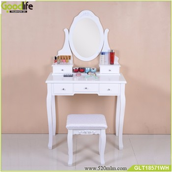 antique dressing table with drawers and stool