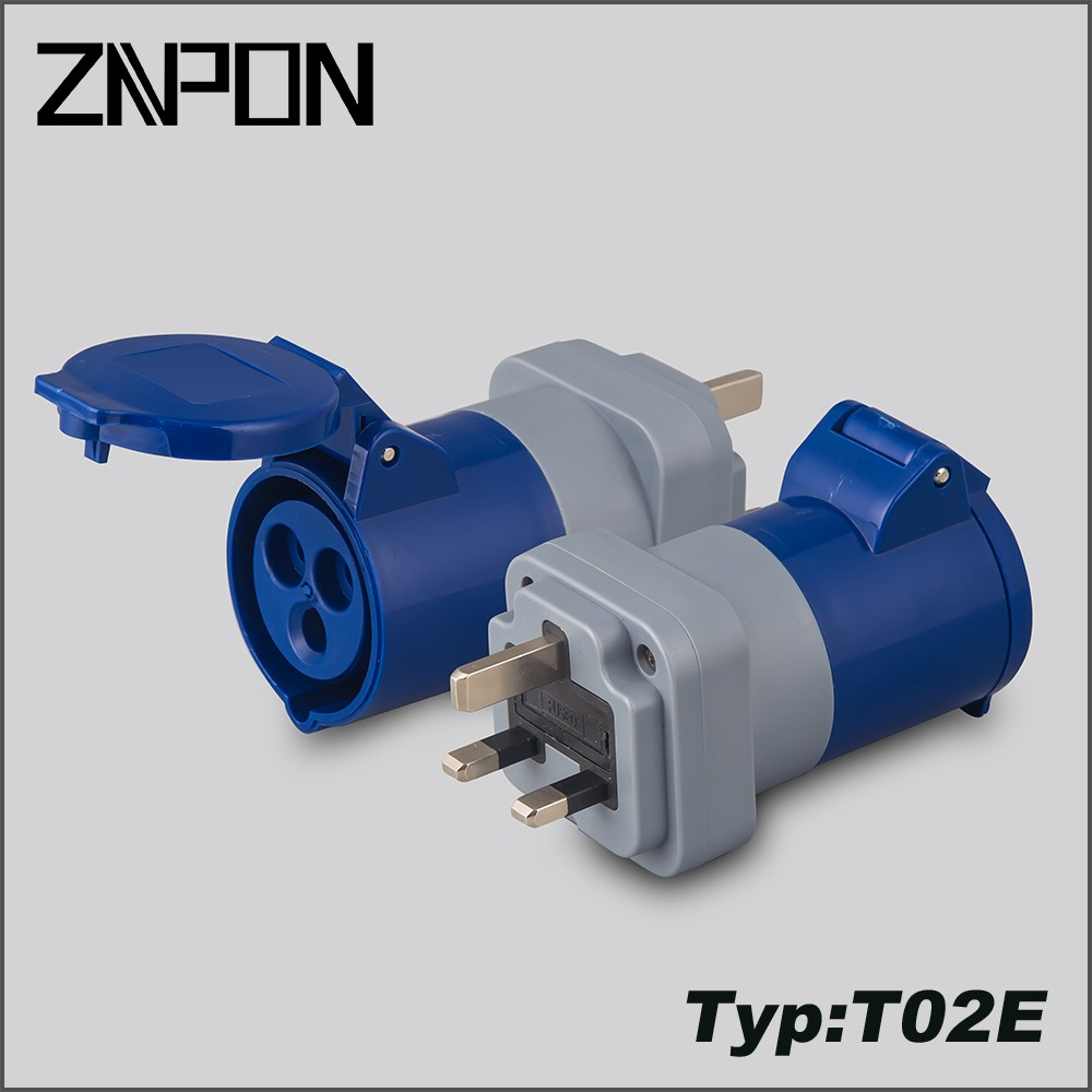 T02E Industrial uk plug adapter