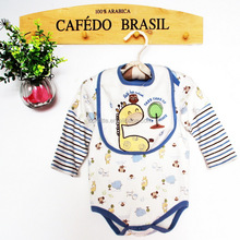 2016 new baby 4 pcs clothing set with bibs and socks
