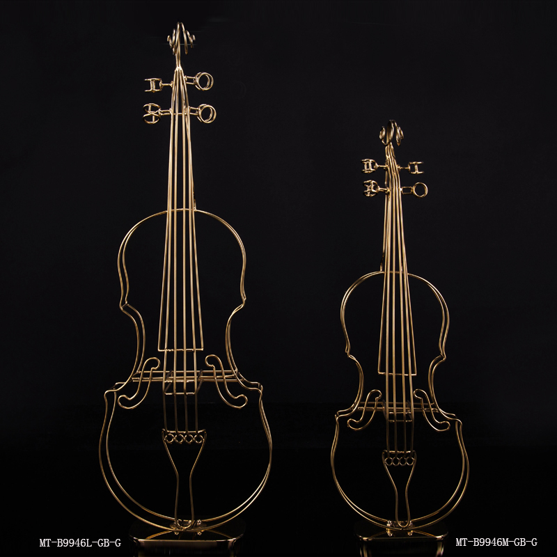 Indoor small violin bronze sculpture metal ornaments for sale