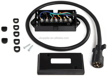 S00358 7-Way Trailer Plug Cord with 7-Pole Wiring Junction Box - Inline Harness Kit RV Blade Molded Wire Connector -Weatherproof