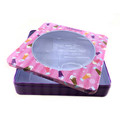 Cartoon cute design square cosmetic tin boxes with PVC window