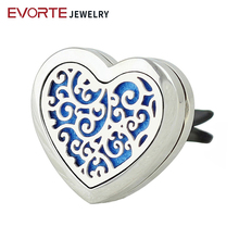 Hot 30MM 316L Stainless Steel Car Perfume Diffuser Locket Heart Magnetic Essential oil Diffuser Locket