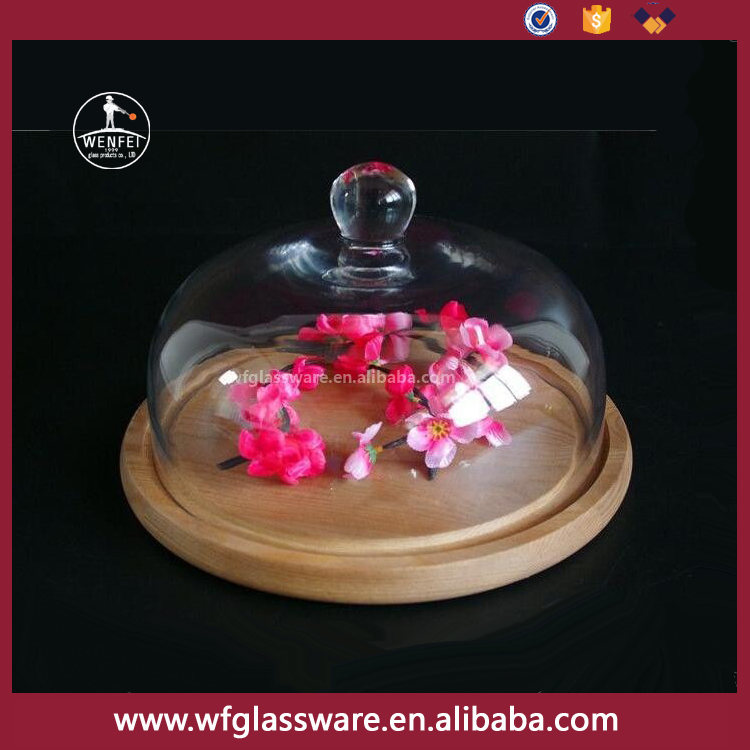 Wenfei price glass dome with wooden base cake dome