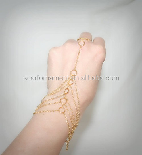Vintage Fack Gold Ring Chains Connecting Metal Key Ring To Wrist Bracelet Chain For Ladies