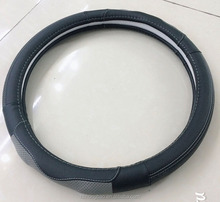 Black grey good leather unique steering wheel cover