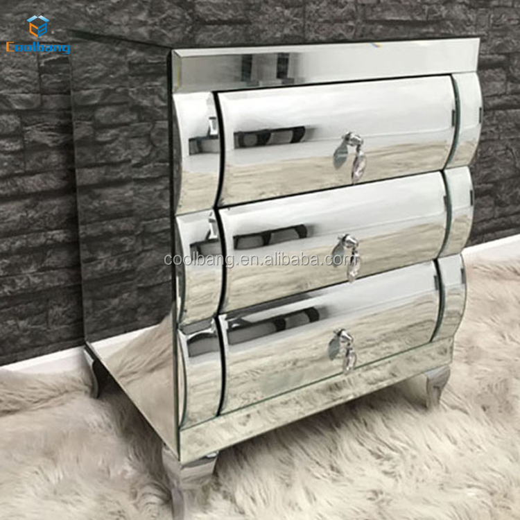 2017 latest design hot sales fashionable curved mirror nightstand mirrored furniture