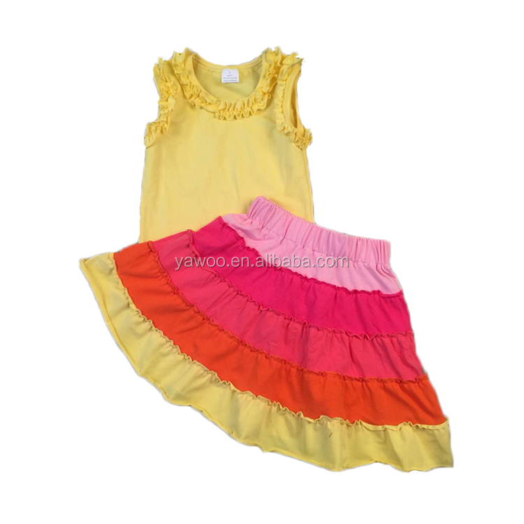 Yawoo wholesale fashion multi-color stitching cotton sleeveless yellow solid shirts summer new children's boutique clothes